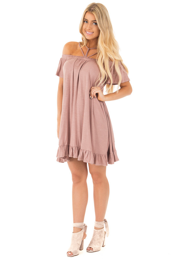 Dusty Mauve Jersey Knit Dress with Strappy Neckline Details front full body