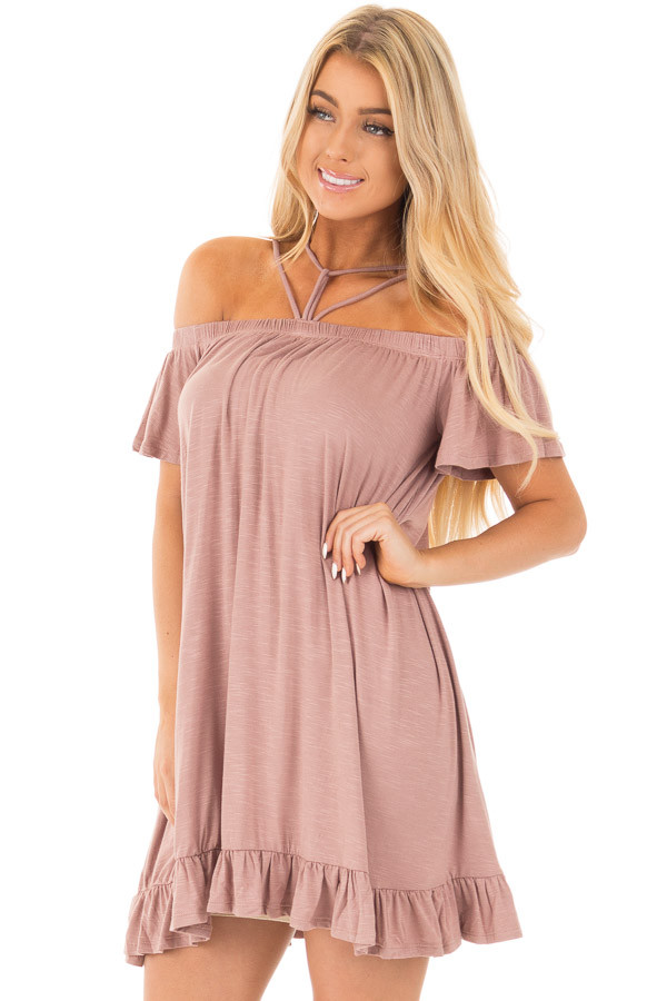 Dusty Mauve Jersey Knit Dress with Strappy Neckline Details front close up