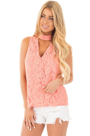 Baked Coral Halter Cut Out V Neck Top with Lace Detail front close up