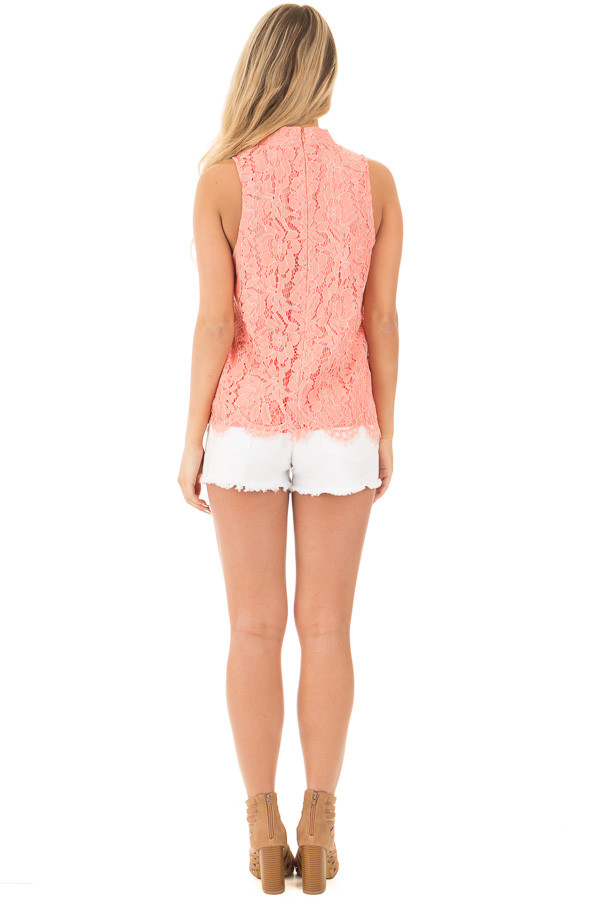 Baked Coral Halter Cut Out V Neck Top with Lace Detail back full body