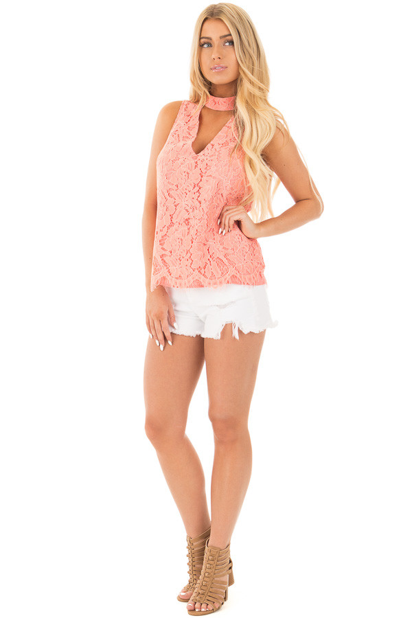 Baked Coral Halter Cut Out V Neck Top with Lace Detail front full body