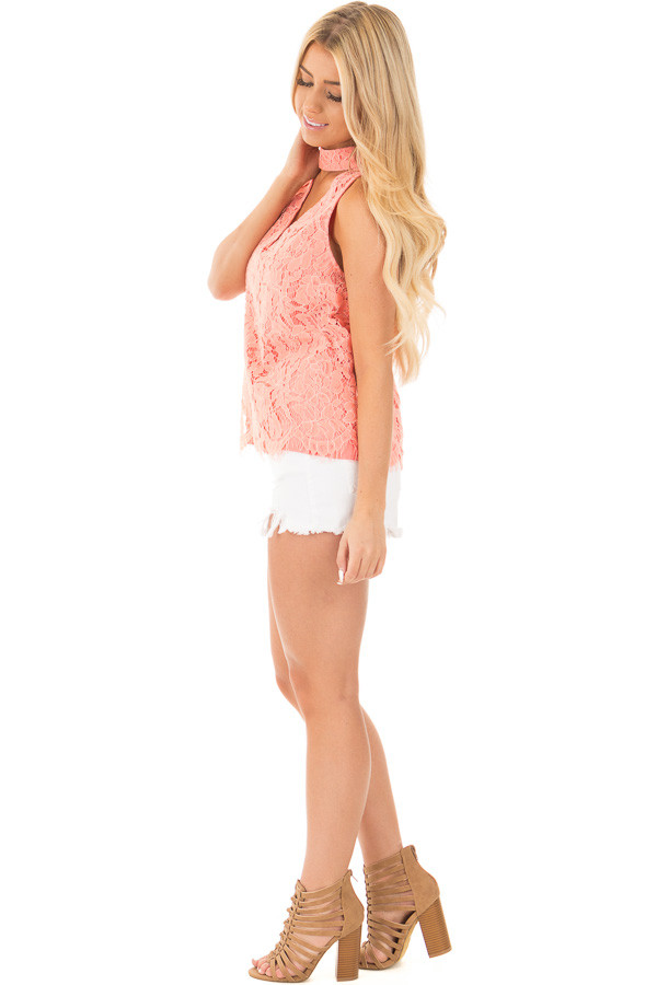 Baked Coral Halter Cut Out V Neck Top with Lace Detail side full body
