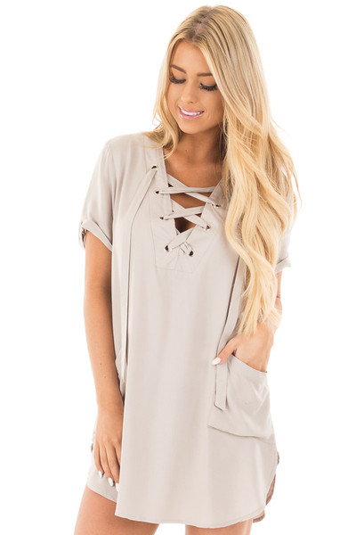 Lunar Grey Lace Up V Neck Tunic with Front Pockets front close up