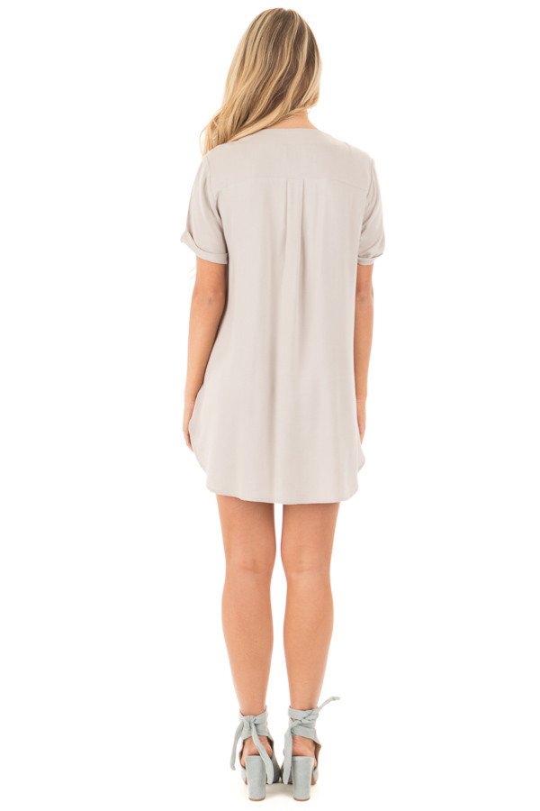 Lunar Grey Lace Up V Neck Tunic with Front Pockets back full body