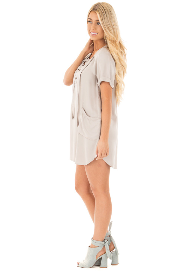 Lunar Grey Lace Up V Neck Tunic with Front Pockets side full body