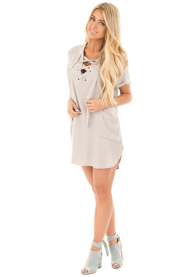 Lunar Grey Lace Up V Neck Tunic with Front Pockets front full body
