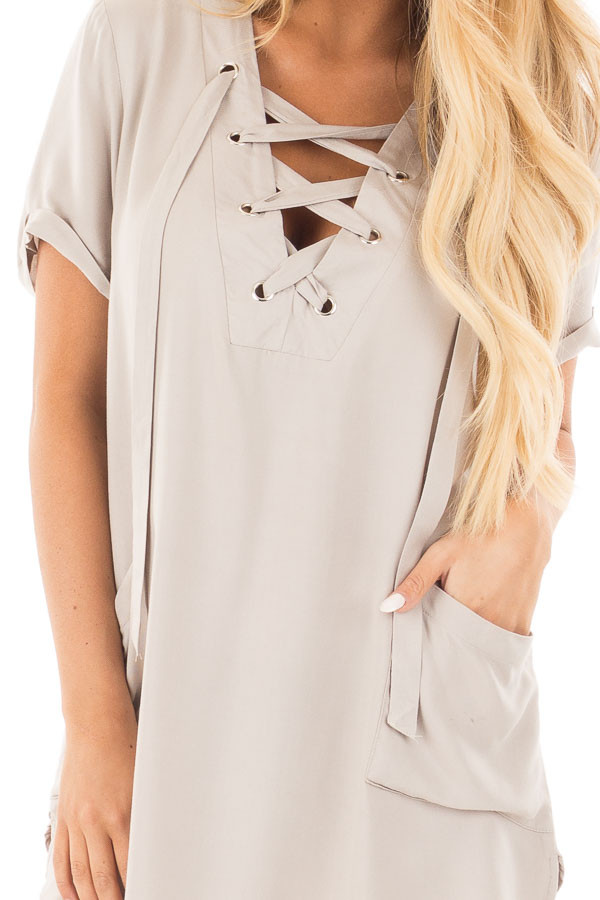 Lunar Grey Lace Up V Neck Tunic with Front Pockets detail