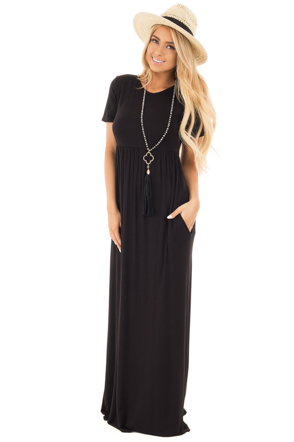 Black Short Sleeve Maxi Dress with Side Pockets front full body