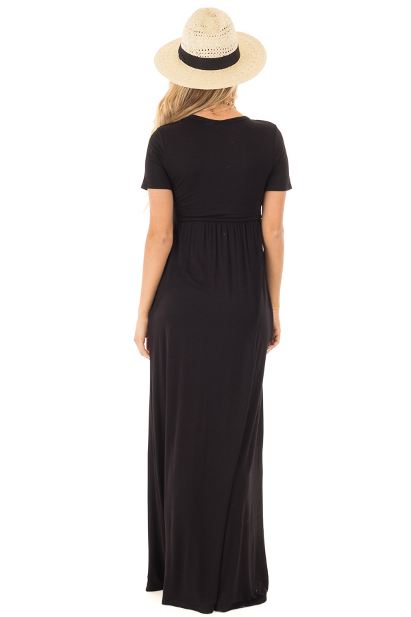 Black Short Sleeve Maxi Dress with Side Pockets back full body