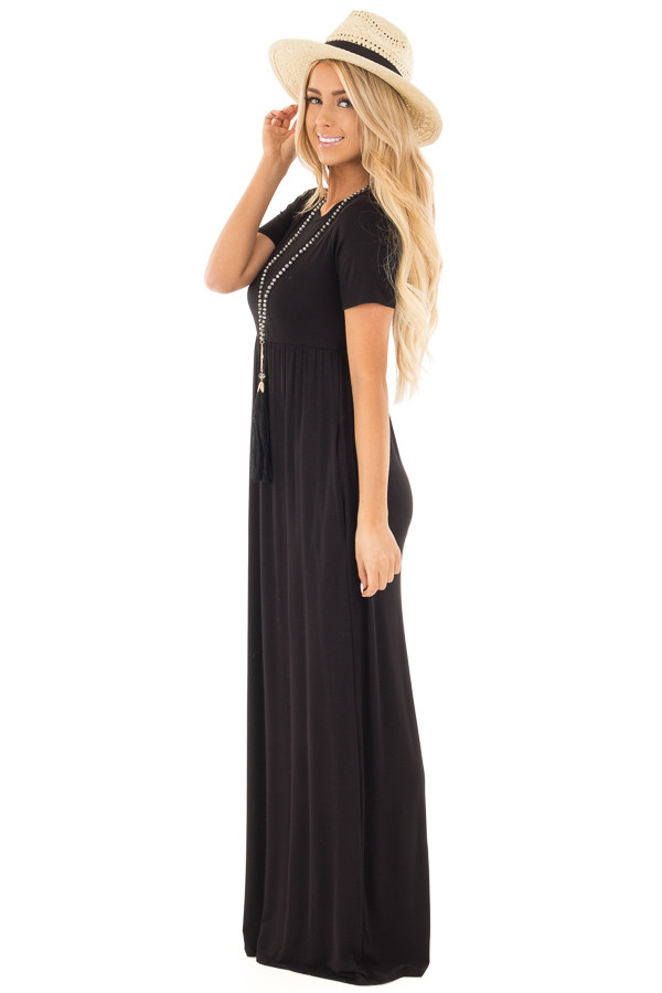 Black Short Sleeve Maxi Dress with Side Pockets side full body