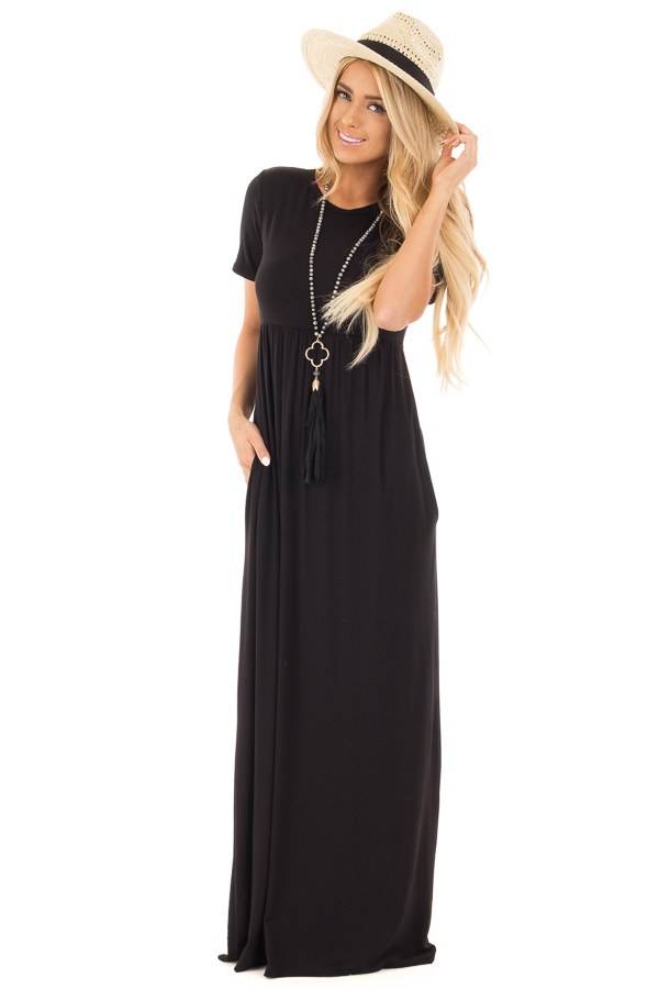 Black Short Sleeve Empire Waist Maxi Dress with Pockets | Lime Lush