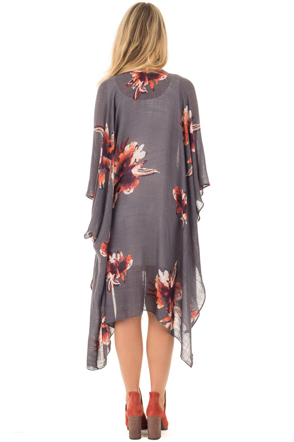 Charcoal and Rust Floral Print Long Linen Kimono back full body