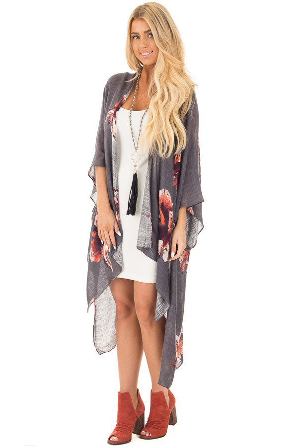 Charcoal and Rust Floral Print Long Linen Kimono front full body