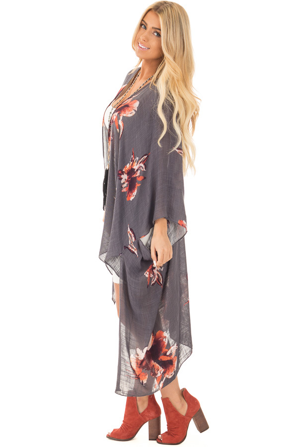 Charcoal and Rust Floral Print Long Linen Kimono side full body