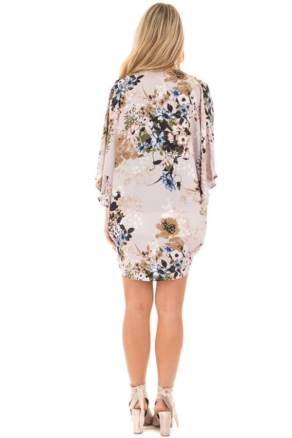 Lavender with Blue and Taupe Floral Print Kimono Cardigan back full body