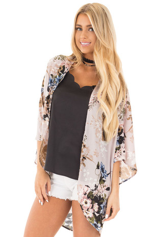 Lavender with Blue and Taupe Floral Print Kimono Cardigan front close up