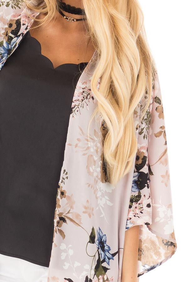 Lavender with Blue and Taupe Floral Print Kimono Cardigan detail