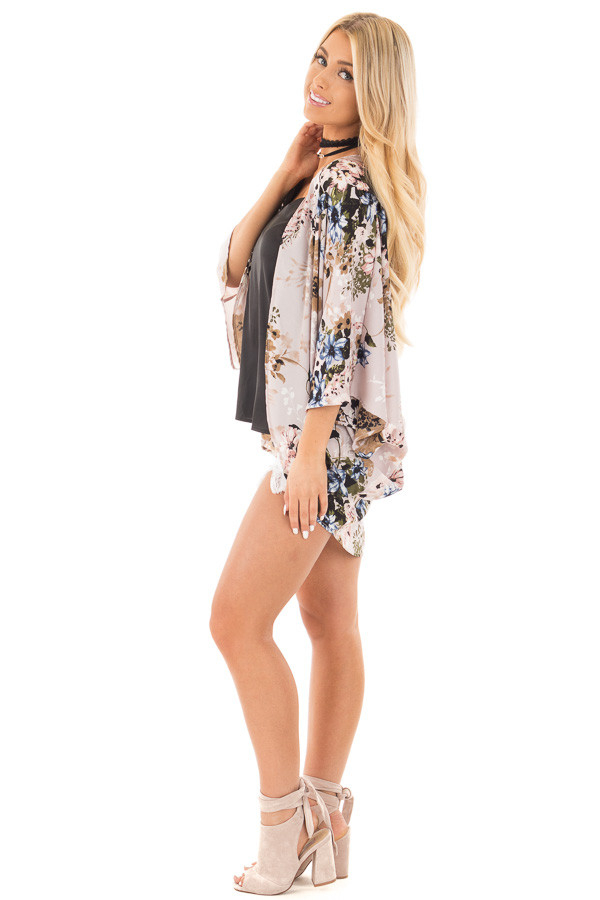 Lavender with Blue and Taupe Floral Print Kimono Cardigan side full body
