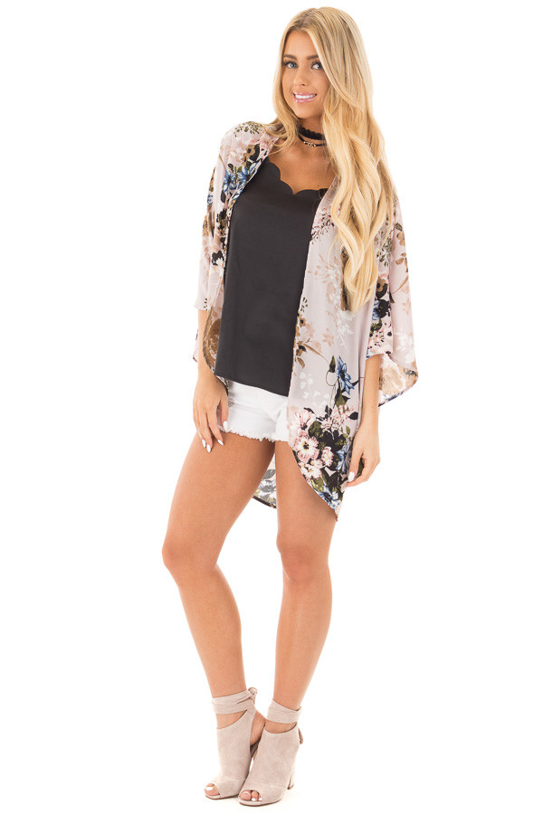 Lavender with Blue and Taupe Floral Print Kimono Cardigan front full body