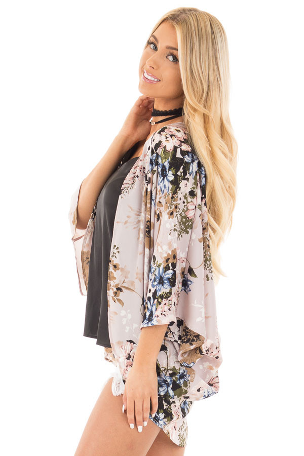 Lavender with Blue and Taupe Floral Print Kimono Cardigan side close up