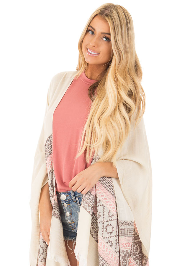 Ivory Aztec Printed Shawl Cardigan with Frayed Detail front close up