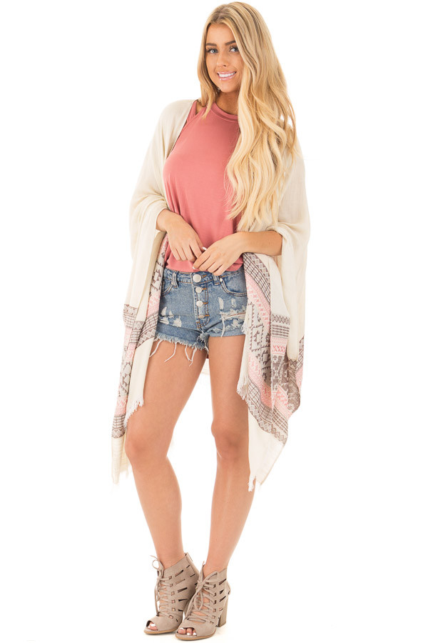 Ivory Aztec Printed Shawl Cardigan with Frayed Detail front full body