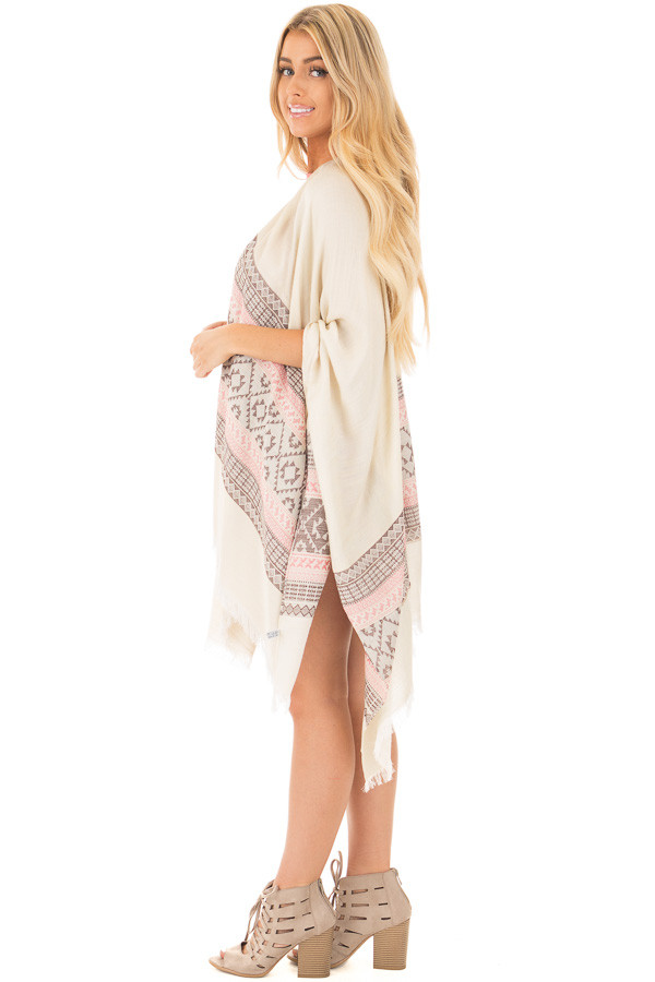 Ivory Aztec Printed Shawl Cardigan with Frayed Detail side full body