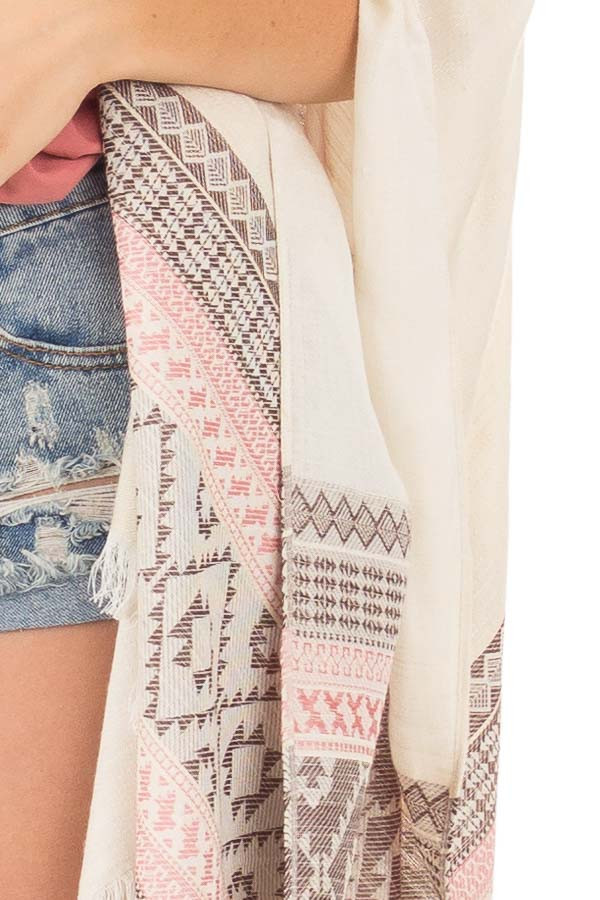 Ivory Aztec Printed Shawl Cardigan with Frayed Detail detail