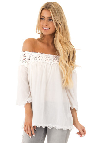 White Off the Shoulder Lace Detailed Bell Sleeve Top front close up