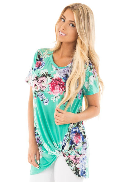 Mint Floral Slinky Top with Gathered Front Detail front close up