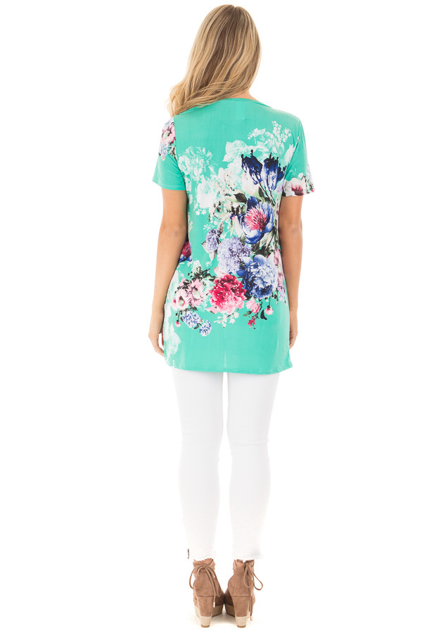 Mint Floral Slinky Top with Gathered Front Detail back full body