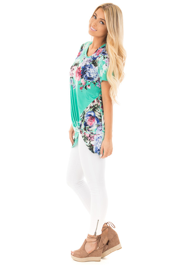 Mint Floral Slinky Top with Gathered Front Detail side full body