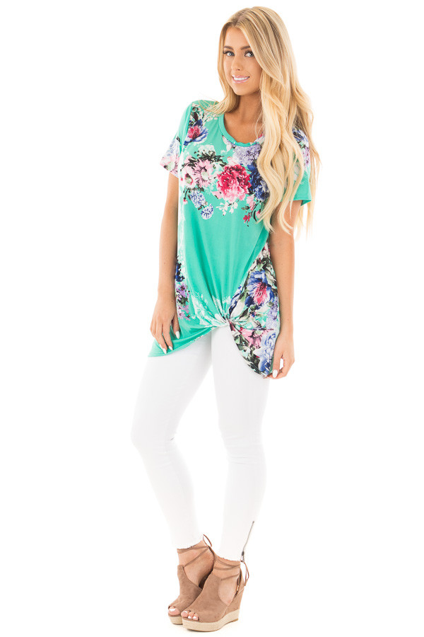 Mint Floral Slinky Top with Gathered Front Detail front full body