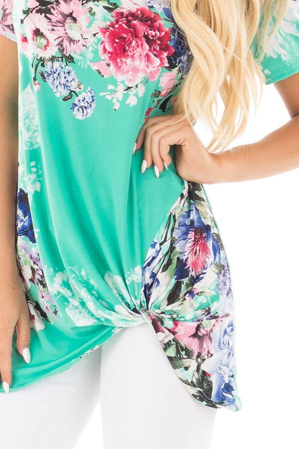 Mint Floral Slinky Top with Gathered Front Detail detail
