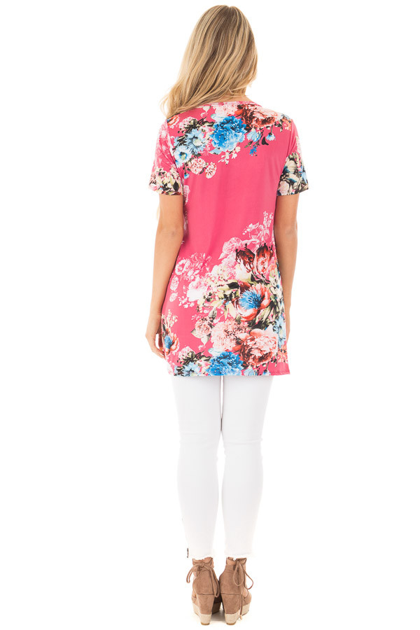 Fuchsia Floral Slinky Top with Gathered Front Detail back full body