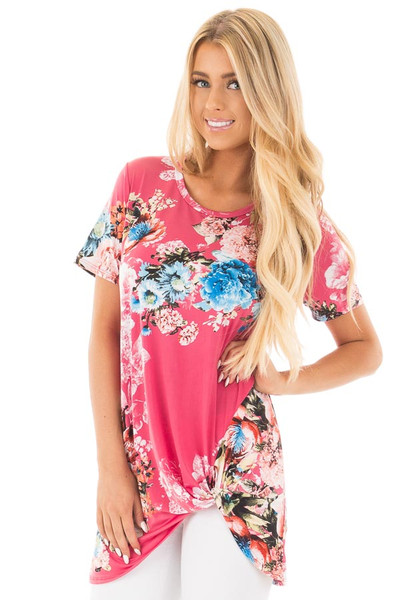 Fuchsia Floral Slinky Top with Gathered Front Detail front close up
