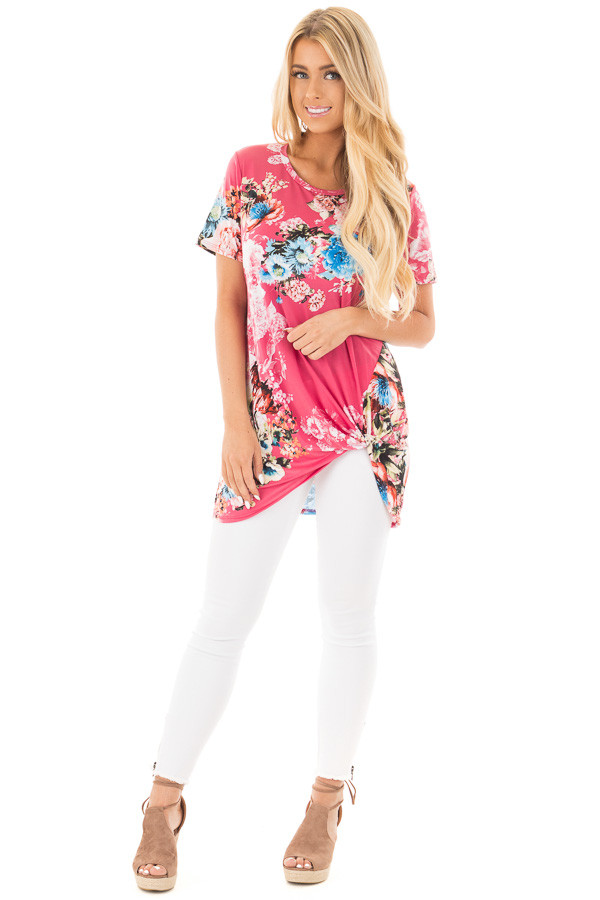 Fuchsia Floral Slinky Top with Gathered Front Detail front full body