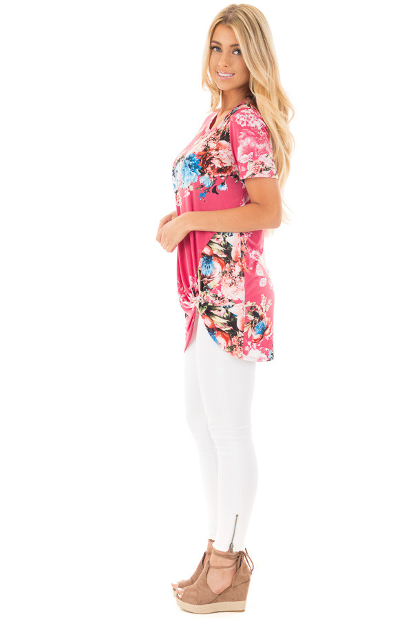 Fuchsia Floral Slinky Top with Gathered Front Detail side full body