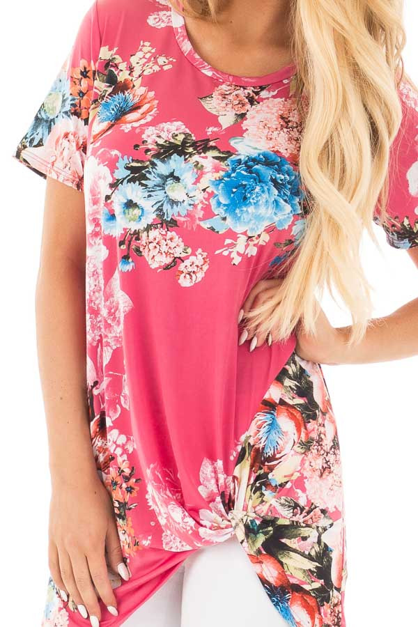 Fuchsia Floral Slinky Top with Gathered Front Detail detail