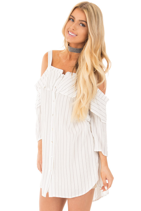 Ivory Stripe Button Down Dress with Off the Shoulder Detail front close up