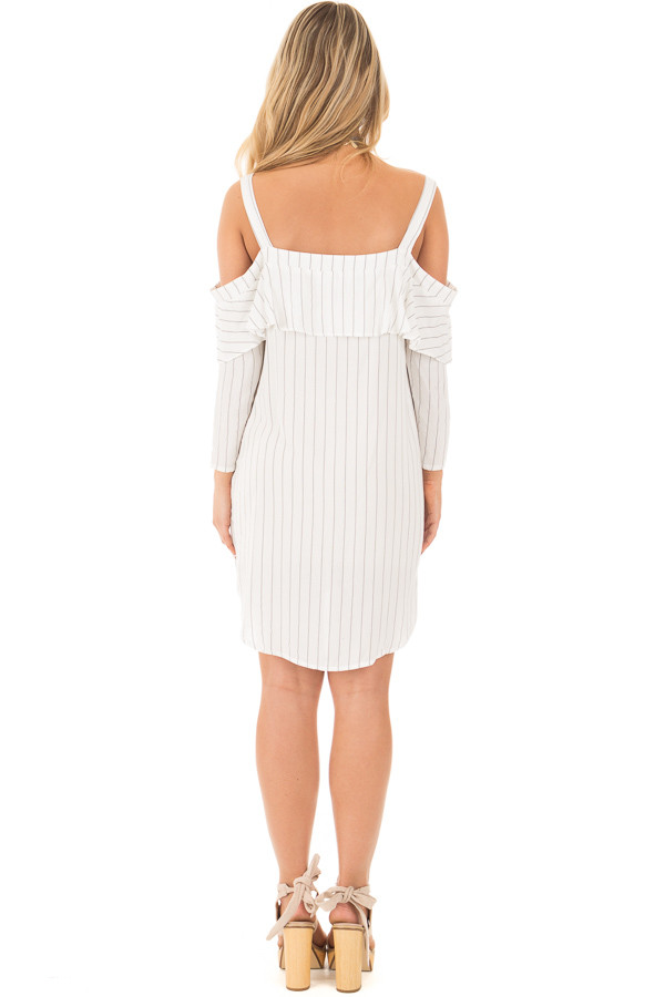 Ivory Stripe Button Down Dress with Off the Shoulder Detail back full body