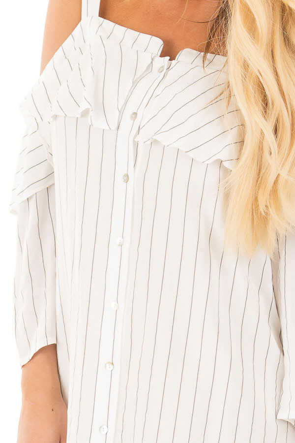 Ivory Stripe Button Down Dress with Off the Shoulder Detail detail