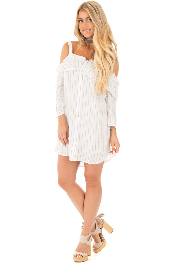 Ivory Stripe Button Down Dress with Off the Shoulder Detail front full body