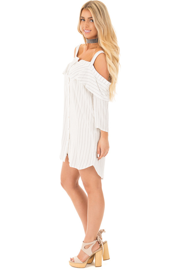 Ivory Stripe Button Down Dress with Off the Shoulder Detail side full body