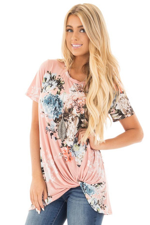 Blush Floral Slinky Top with Gathered Front Detail front close up