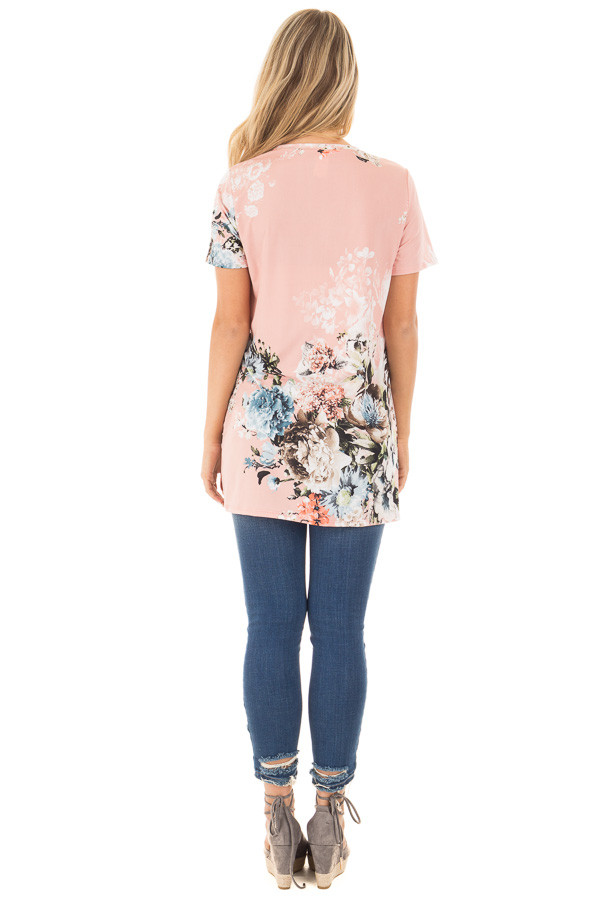 Blush Floral Slinky Top with Gathered Front Detail back full body