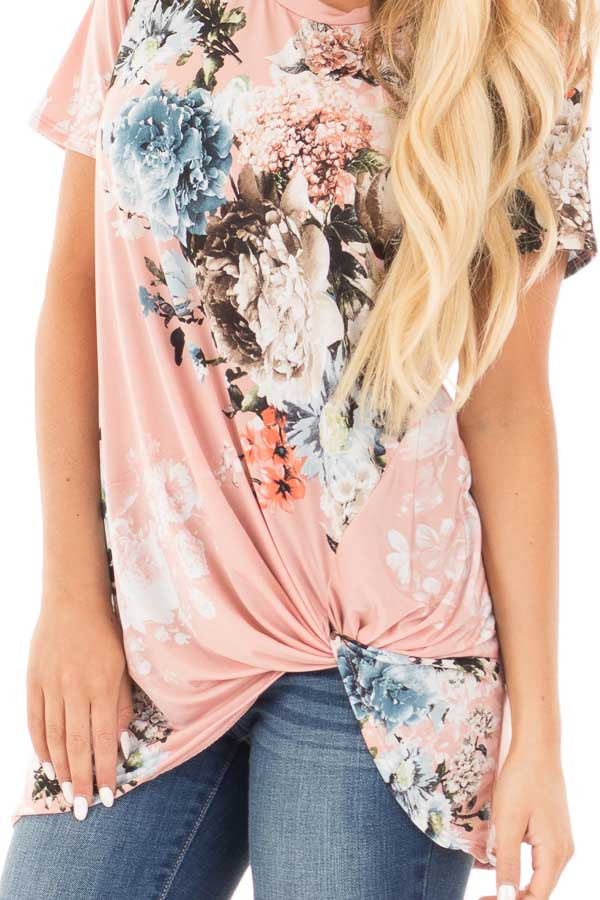 Blush Floral Slinky Top with Gathered Front Detail detail