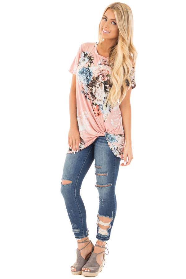 Blush Floral Slinky Top with Gathered Front Detail front full body