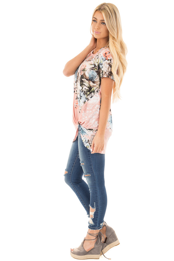 Blush Floral Slinky Top with Gathered Front Detail side full body