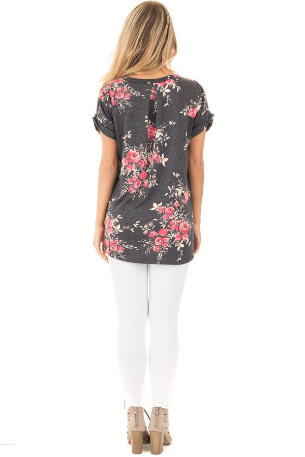 Charcoal and Blush Floral Print Knit V Neck Pocket Tee back full body